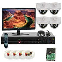 GW Security Inc 4CHE7 4Ch. H.264 960H & D1 Realtime DVR with 4 x Color SONY CMOS 1000TVL Varifocal Lens Indoor Security Camera System, Free LED (White/Black)