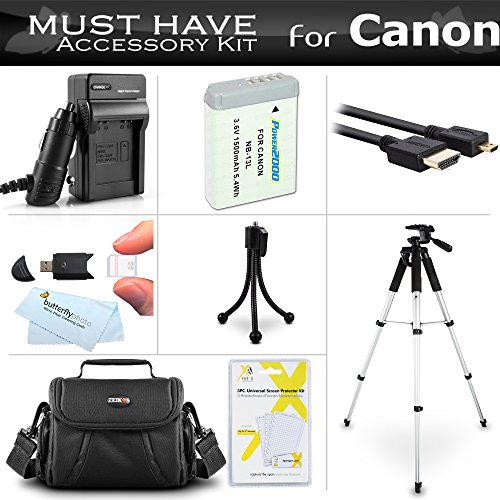 Essential Accessories Kit for Canon PowerShot SX720 HS, Canon G7 X Mark II, G7 X, G9 X, G5 X Digital Camera Includes Extended Replacement NB-13L Battery + AC/DC Charger + Case + 57 Tripod w/Case ++ -  ButterflyPhoto, AMAZ24200