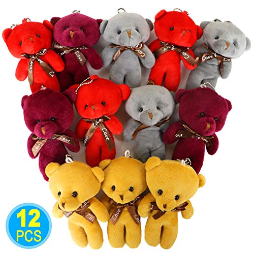 12 Pcs Mini Teddy Bears Plush Toys for Kids, 1 Dozen Stuffed Animals Doll Bulk for Wedding Decorations, Party Favors, Baby Shower, Stocking Stuffers (4 Colours) (12pcs bears) from HAPTIME
