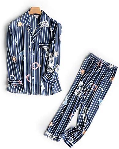 NVYISHUI Pijamas Pijamas de Seda de otoño para Mujer Pijamas de Mujer de Dos Piezas Servicio para el hogar Sección Delgada Pijamas de Manga Larga a Rayas Mujeres Primavera y otoño