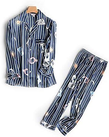TALLA XL. NVYISHUI Pijamas Pijamas de Seda de otoño para Mujer Pijamas de Mujer de Dos Piezas Servicio para el hogar Sección Delgada Pijamas de Manga Larga a Rayas Mujeres Primavera y otoño