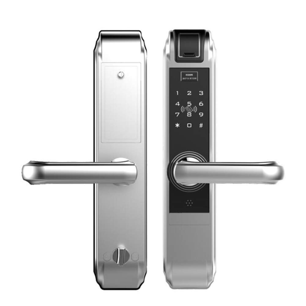 GAOPIN Combination Locks - Smart Digital keypad Door Lock Machinery Fingerprint Handle gate Wooden Door Lock, Silver,3