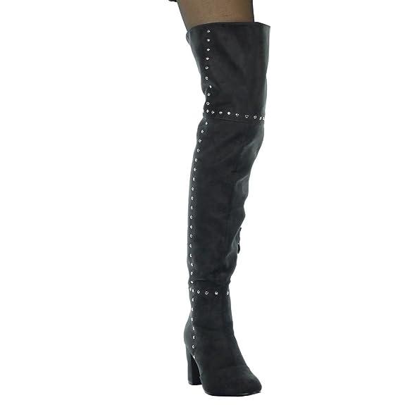 Angkorly - Chaussure Mode Cuissarde cuissarde reversible souple femme clouté Talon haut bloc 8 CM - Intérieur Fourrée - Gris - YS455 T 37 Zfs5kA2BN