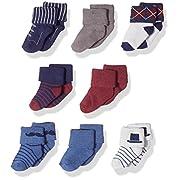 Hudson Baby Basic Socks, 8 Pack, Mustache, 6-12 Months