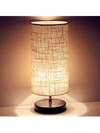 Nice Ewalite Minimalist Romantic Solid Wood Table Lamp With Flaxen Fabric Shade Bedside  Desk Lamp For Bedroom