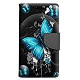 Motorola Droid Turbo 2 Wallet Case - Highlighted Butterfly Blue on Black Case