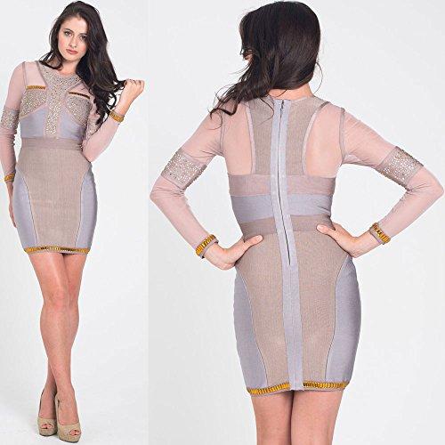 HLBandage Long Sleeve Mesh Beaded Rhinestone Rayon Mini Bandage Dress Grey