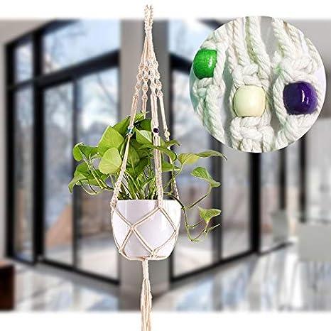 para macetas para la decoraci/ón del hogar ZJW Soporte para macetas de algod/ón Natural para macetas style1 para macetas en el Interior Techo de balc/ón al Aire Libre