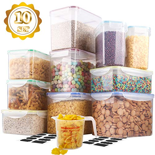 [10 Packs]Food Storage Containers,MCIRCO Airtight Flour Containers Pantry Storage Containers for Kitchen, Pantry, Cabinet, Fridge/Freezer,Free Labels and Measuring Cups