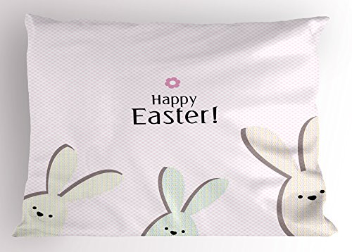 Lunarable Easter Pillow Sham, Pink Gingham Checks Background with Dotted Pattern Bunny Cartoon Design, Decorative Standard King Size Printed Pillowcase, 36 X 20 Inches, Baby Pink Multicolor - Check Standard Pillow Sham