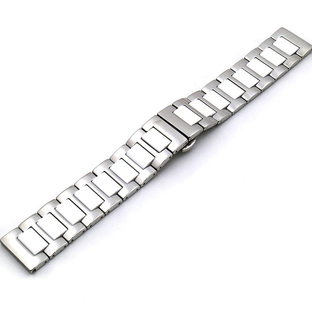 chezabbeyステンレススチールとセラミック腕時計バンド交換用Deployment Clasp時計ストラップ16 / 18 / 20 / 22 mm 20 MM White&Sliver 20 MM|White&Sliver White&Sliver 20 MM B0749FY5JS