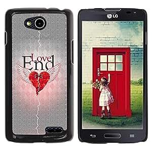 Qstar Arte & diseño plástico duro Fundas Cover Cubre Hard Case Cover para LG OPTIMUS L90 / D415 ( Love Heartbreak Quote Broken Heart Wings)