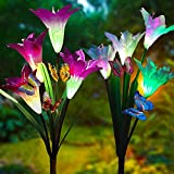 Cheap Adamluvs Solar Flower Lights, Solar Lights Outdoor, Multi-Color Changing LED Flower Lights, 2 Pack Lily Flowers with Bonus 12 Pcs Artificial Butterflies (Purple&White)