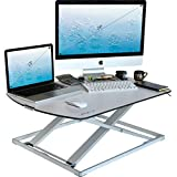 Height Adjustable Standing Desk Converter - Stand Up Desk Used as Computer and Monitor Stand - Ultra Slim Stunning Design - White - 31'x22'