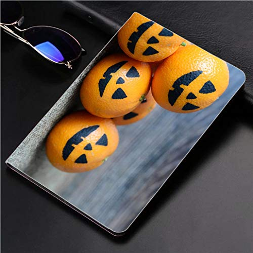 Compatible with 3D Printed iPad Pro 10.5 Case Painted Scary Faces on a Holiday of Halloween on Orange 360 Degree Swivel Mount Cover for Automatic Sleep Wake up ipad case