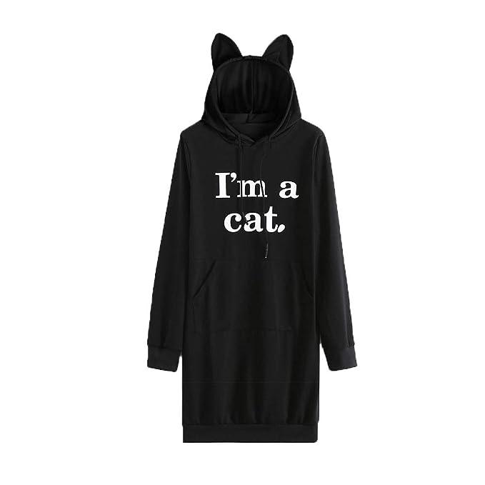 Gusspower Sudaderas con Capucha Mujer Tumblr Largas Moda Suéter Tops Blusas Gato de impresión de Letras de Color sólido: Amazon.es: Ropa y accesorios