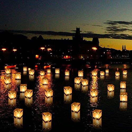 Homecube Outdoor Biodegradable Lanterns,Water Floating Candle Lanterns, for Wishing, Praying,10 Pack 5.9 (Biodegradable Water)