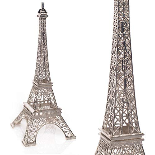 TCDesignerProducts Silver Resin Eiffel Tower Centerpiece, 15 Inches High, Paris Themed Table -