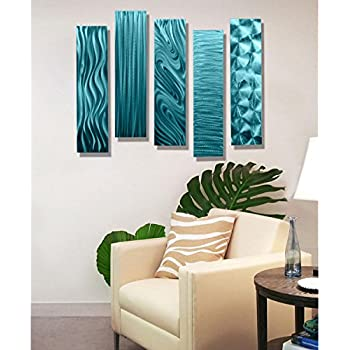 Statements2000 Aqua Metal Wall Art Decor, 5 Piece Set Of Modern Wall Art By  Jon Allen Metal Art   5 Easy Pieces Aqua