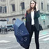 Dark Blue Black Umbrella Upf 50+ Parasol Womens Rain Umbrella Business Pg-Cloth Sun-Proof