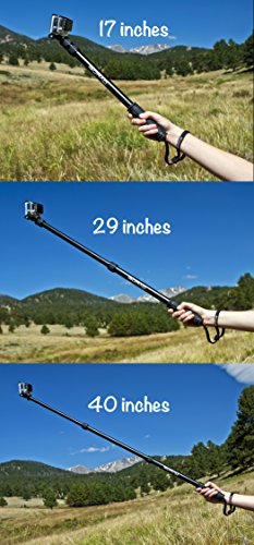 GoRad Gear Selfie Stick for GoPro Hero Cameras, Waterproof, Pole Extends 17-40...