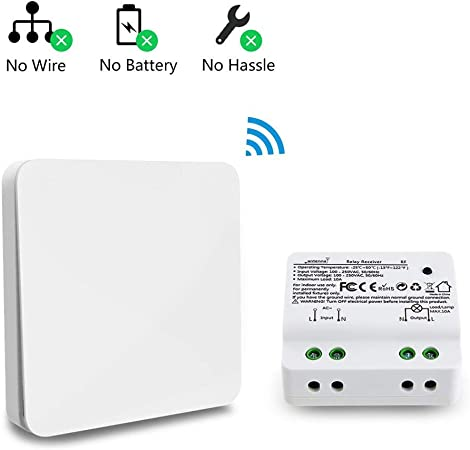 Wireless Light Switch Kit Off Remote Control LED No Battery No Wiring On