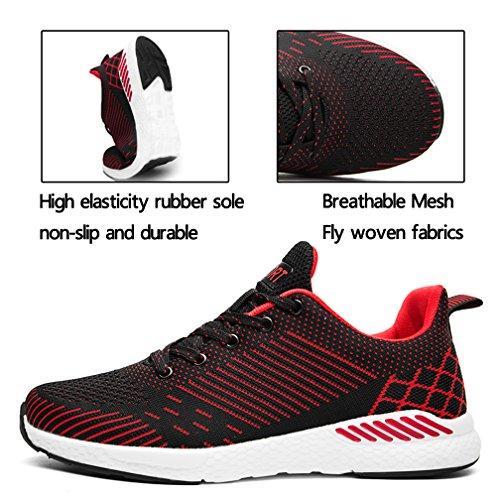 Trail Atmungsaktiv Straßenlaufschuhe FLARUT Trekking Fitnessschuhe Damen Casual Rot Sportschuhe Gym Outdoor Turnschuhe Walking Schuhe Erwachsene Herren Laufschuhe Laufschuhe Sneaker Trainer wwq1ga6