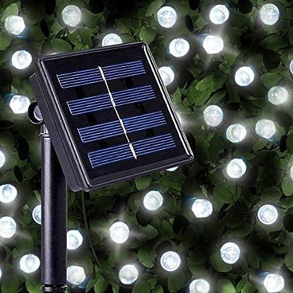 Guirnaldas Solares Luminosas de 100 LEDs de Color Blanco Brillante - Iluminación a base de energía