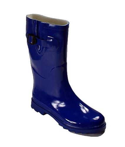 Womens Rain Snow Winter Flat Rubber Mid Calf Short Rainboot