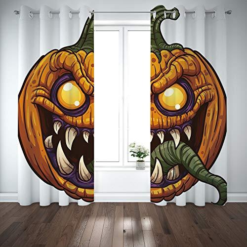 SCOCICI Grommet Blackout Window Curtains Drapes [ Halloween,Scary Pumpkin Monster Evil Character Fangs Aggressive Cartoon,Purple Orange Dark Green] Living Room Bedroom Kitchen Cafe