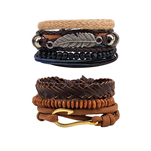 7 Pcs 2 Styles Leather Bracelets for Men Women Wooden Beaded Leaf Fishhook Bracelets Braided Cuff -
