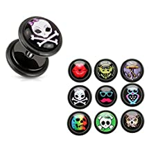 U2U Pair of Black Acrylic Fake Plugs with Clear Epoxy Dome Logo Print Inlay and O-Rings(9 Styles Optional)