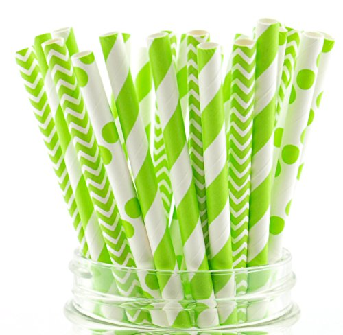 Green Drinking Straws Combo Pack, Spring Garden Wedding Supplies, Paper Party Straws, Drink Stirrers (75 Pack) - Green Striped, Polka Dot & Chevron -