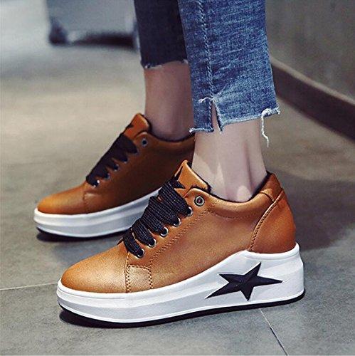 Khskx-automne Marron 5cm Chaud Plus Velours Chaussures Version Coréenne De Femme Et Polyvalent Éponge Gâteau Chaussures Épais Chaussures Décontractées 38 Étudiantes Seulement