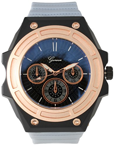 Geneva Silicone Strap Men's Sports Watch Metal Bezel with Black Dial and Multi Color Bands (Gray/Rose (Gray Dial Gold Bezel)