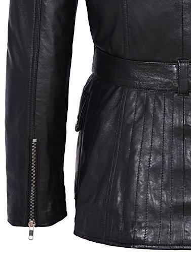 de real de de de de cuero Chaqueta piel invierno mujer Chaqueta de cordero Abrigo negra de moda longitud de media diseñador qHEZxt