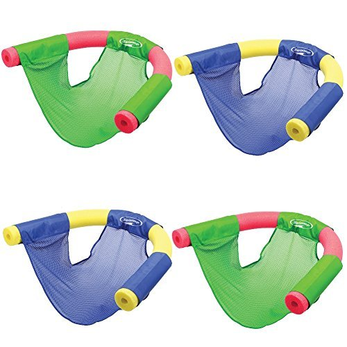 SwimWays (Set/4) Floating Pool Noodle Sling Mesh Chairs - Water Relaxation (Swim Seat)