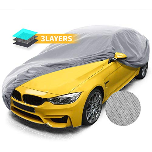 Car Covers, Auto Vehicle Covers for Indoor Grey Car Cover Dust-Proof Anti Bird Dropping Tree Leaves Windproof Car Tarp 200