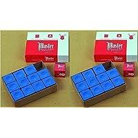 Original USA Tizas para billar Master, 12 unidades en caja (azul/verde/rojo/gris)