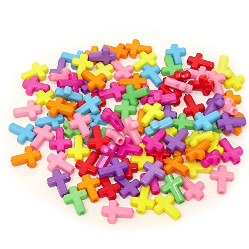 Honbay 100PCS 16x12x4.5mm Assorted Color Acrylic Cross Beads Spacer Beads for Jewelry Making or Craft Projects