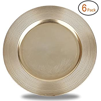 FANTASTIC ) Round 13 Inch Plastic Charger Plates with Metallic Finish (6 Multiturn Gold)  sc 1 st  Amazon.com & Amazon.com | FANTASTIC :) Round 13 Inch Plastic Charger Plates with ...