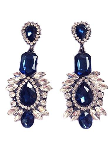 (Art Deco Antique Vintage Style Chunky Blue Sapphire Statement Rhinestone Extra Long Wedding Bridal Prom Earrings)
