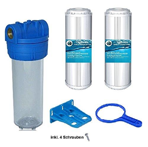 Planet-Aqua Filtergeh/äuse Duos 10 Zoll mit 1//2 Wasseranschlu/ß 2X KALKFILTER Kartuschen 1x GEH/ÄUSESCHL/ÜSSEL 1x Halterung Vorfilter f/ür Wasserfilter Osmose Anlagen Hauswasserwerk Brunnen