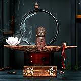 DW&HX Creative Household Wood Back Incense Burner Little Monks Ceramics Purple Clay Decoration Decoration-K