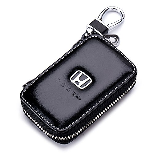 Keychain Bag Case (QZS Black Leather Car Key Case Coin Holder Zipper Remote Wallet Key Chain Bag (Honda))