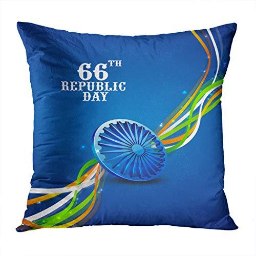 Suklly Throw Pillow Cover Square 16x16 Inch Ashoka Wheel Shiny National Flag Cushion Home Sofa Decor Hidden Zipper Polyester Pillowcase]()