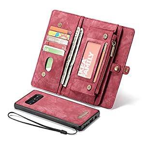 Galaxy Note 8 Case,Galaxy Note 8 Wallet Case, Esing Premium Folio Zipper Purse Leather Cover Cases for Samsung Galaxy Note 8 Detachable Magnetic Case with Flip Credit Card Slots Stand Holder (Red)