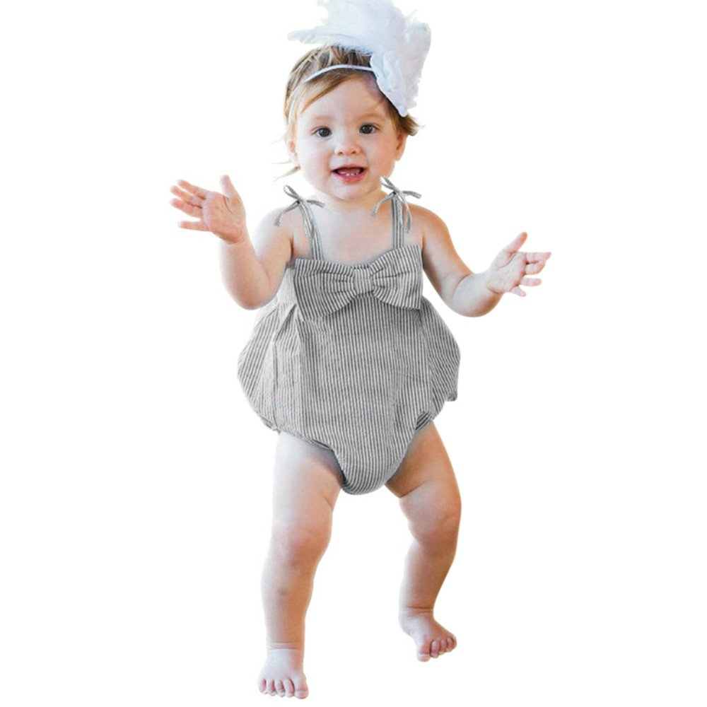 a0dbf3bbe Feixiang Ropa de bebé Ropa de niña recién Nacida niños Rayas Burbuja  Burbuja Hilo con Volante Pajarita Mono Mono Mono Pajarita Mameluco   Amazon.es  ...