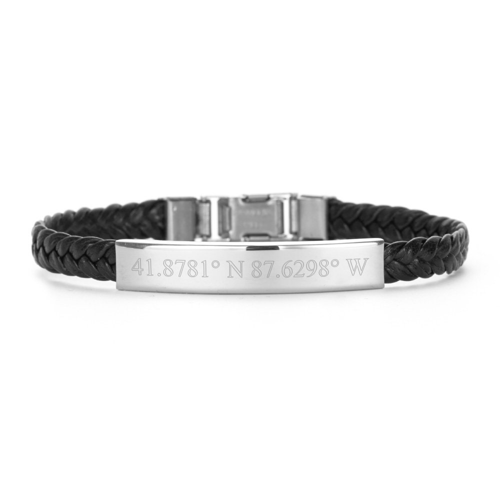 Eve's Addiction Custom Stainless Steel Coordinate Braided Band ID Bracelet, 8.5 inches
