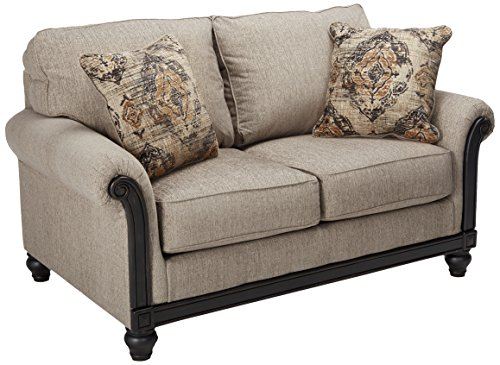 Signature Design by Ashley - Blackwood Traditional Style Loveseat, Taupe (Loveseats Style Country)
